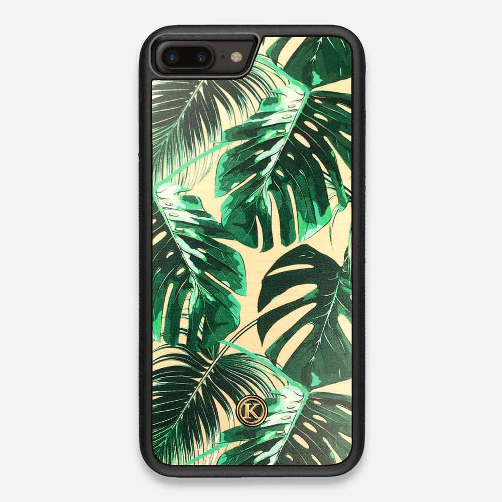 Front view of the Palm leaf printed Maple Wood iPhone 7/8 Plus Case by Keyway Designs