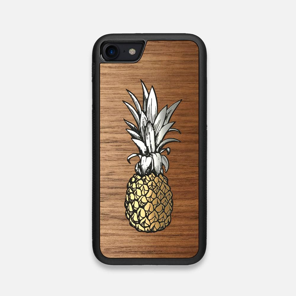 Front view of the Pineapple Walnut Wood iPhone 7/8 Case by Keyway Designs