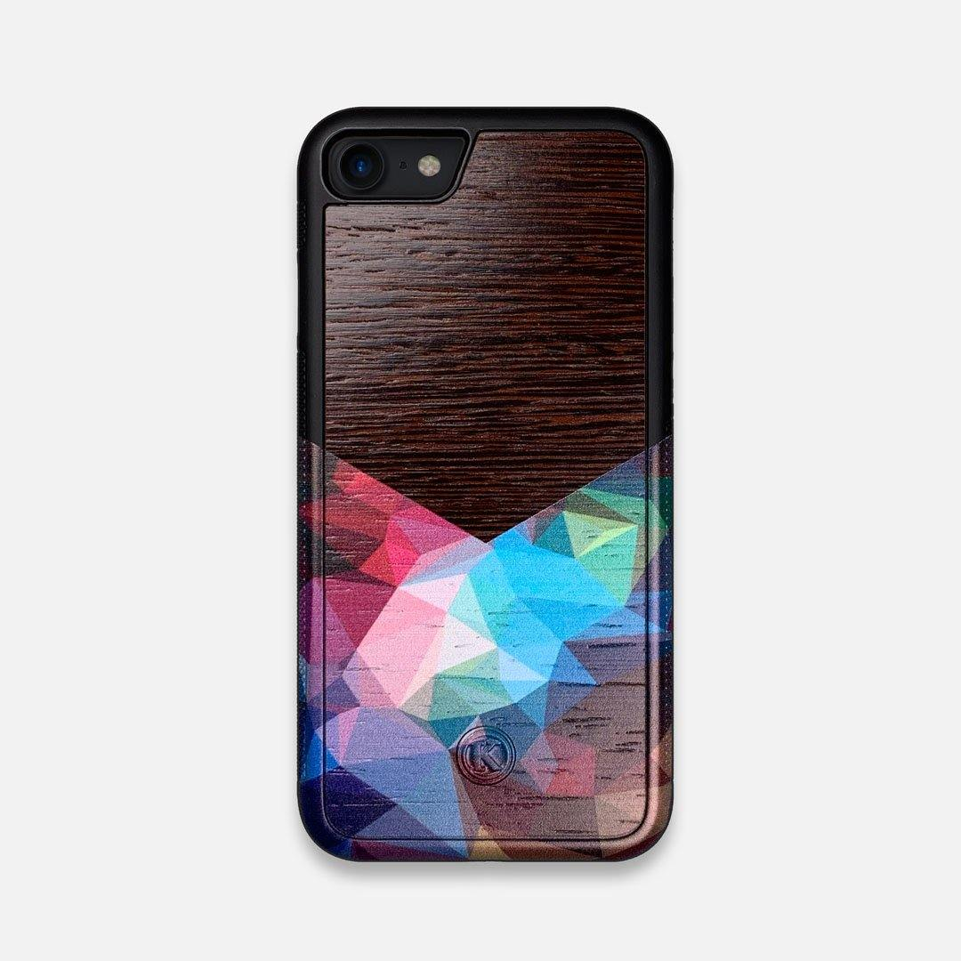 Front view of the vibrant Geometric Gradient printed Wenge Wood iPhone 7/8 Case by Keyway Designs