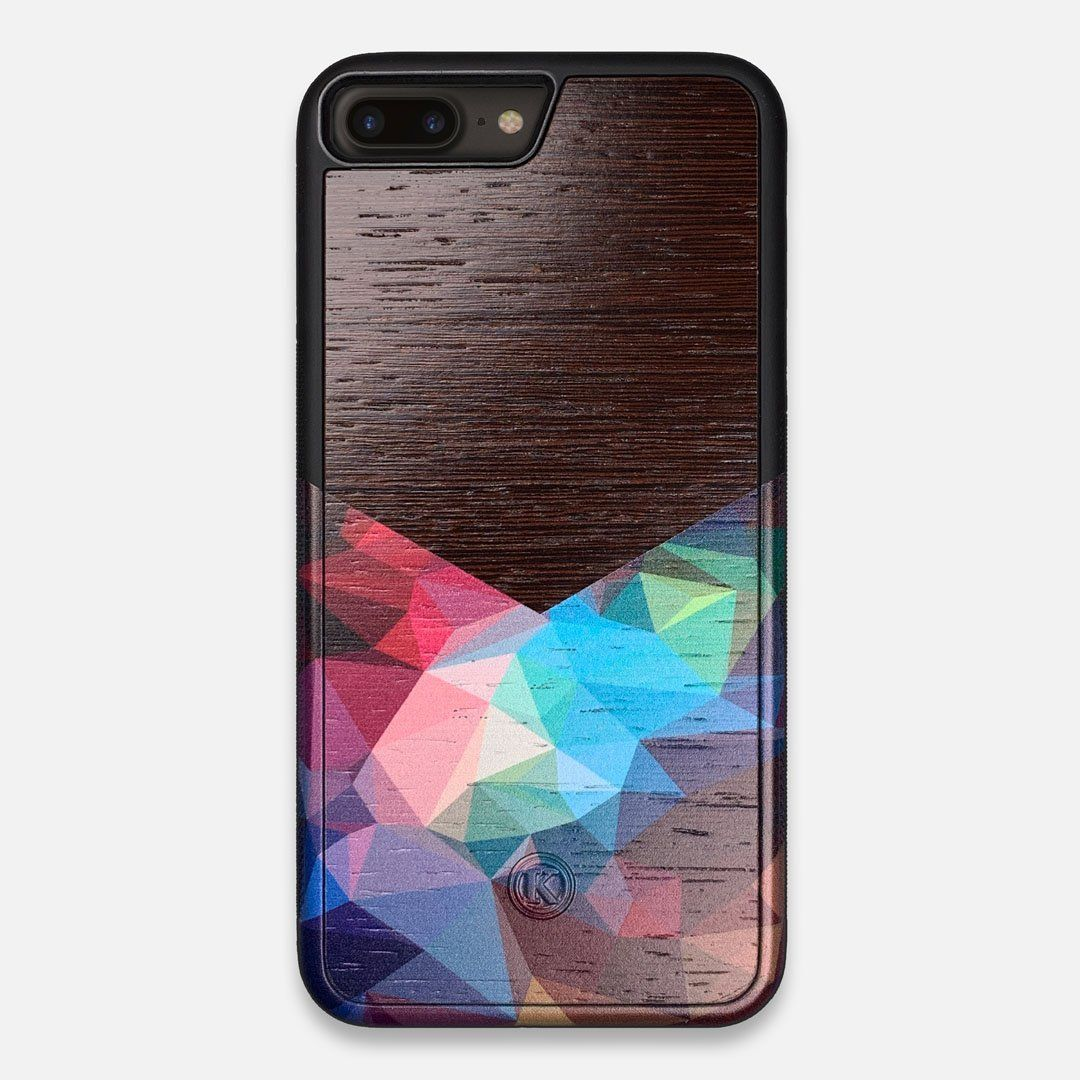 Front view of the vibrant Geometric Gradient printed Wenge Wood iPhone 7/8 Plus Case by Keyway Designs