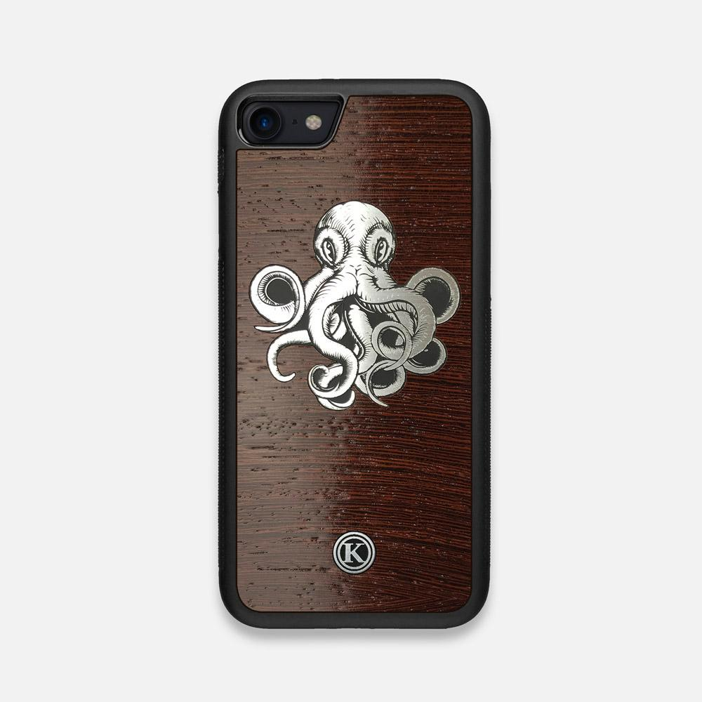 Front view of the Prize Kraken Wenge Wood iPhone 7/8 Case by Keyway Designs