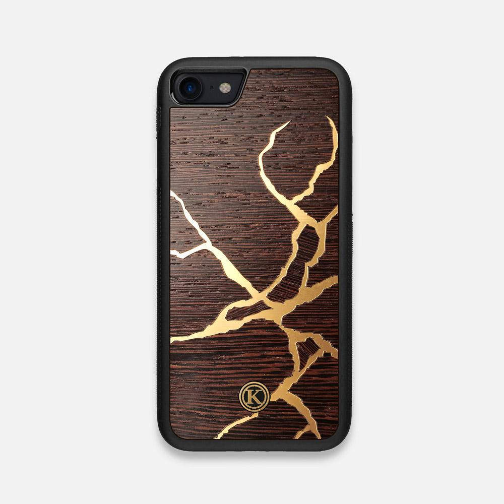 Front view of the Kintsugi inspired Gold and Wenge Wood iPhone 7/8 Case by Keyway Designs
