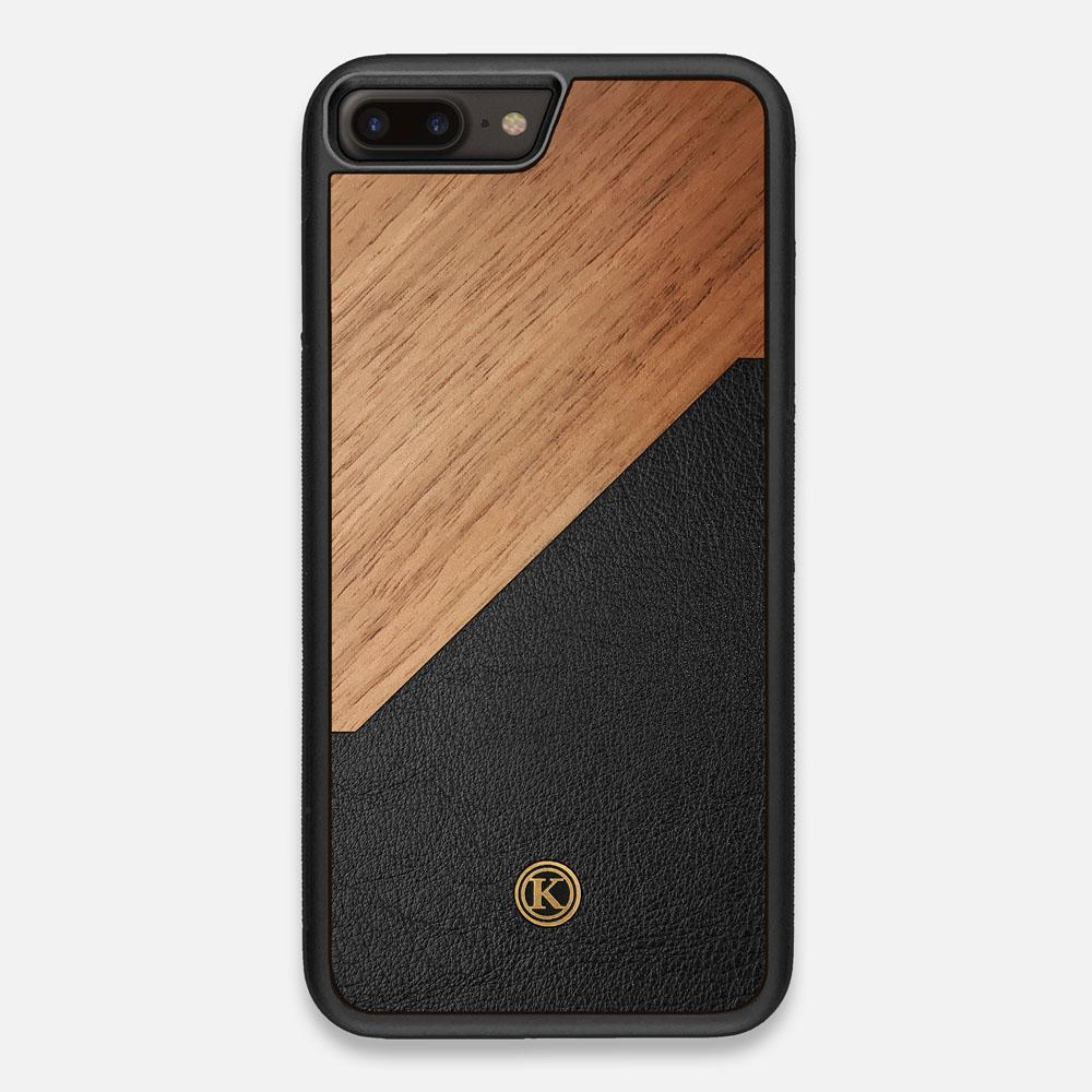 Front view of the Walnut Rift Elegant Wood & Leather iPhone 7/8 Plus Case by Keyway Designs