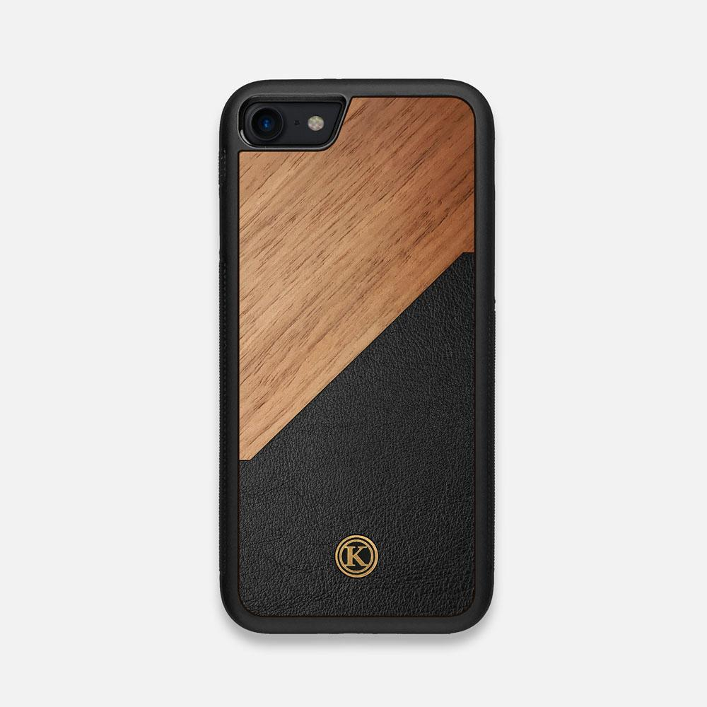 Front view of the Walnut Rift Elegant Wood & Leather iPhone 7/8 Case by Keyway Designs