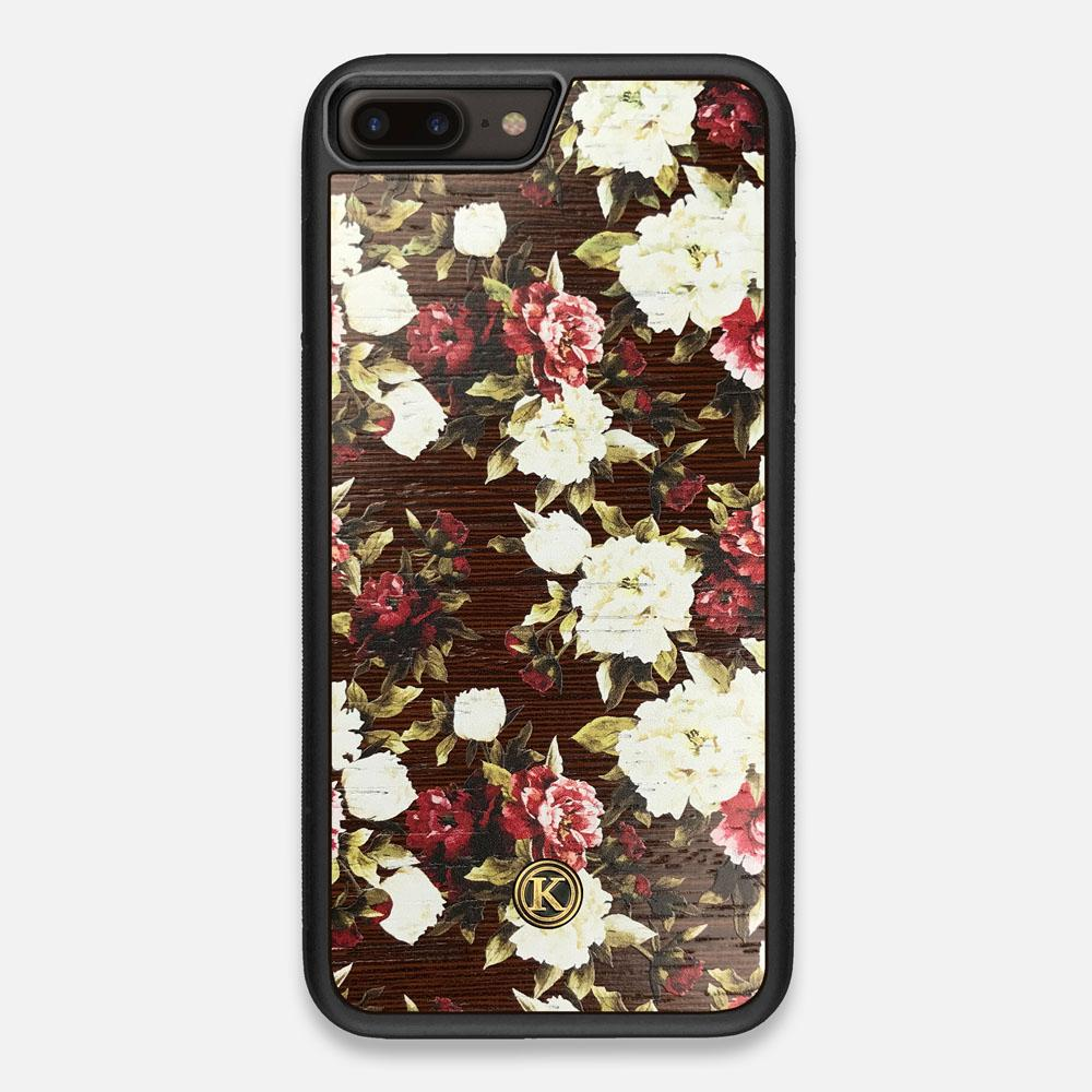Front view of the Rose white and red rose printed Wenge Wood iPhone 7/8 Plus Case by Keyway Designs