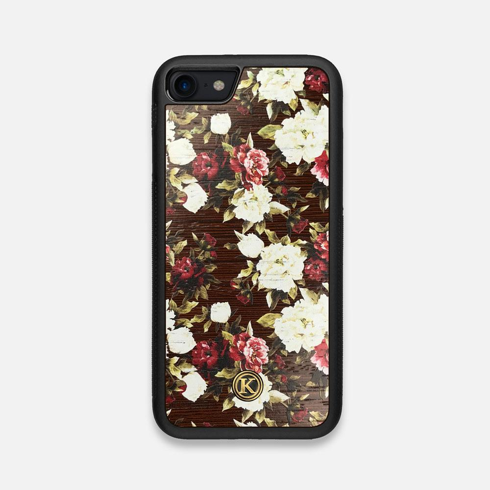 Front view of the Rose white and red rose printed Wenge Wood iPhone 7/8 Case by Keyway Designs