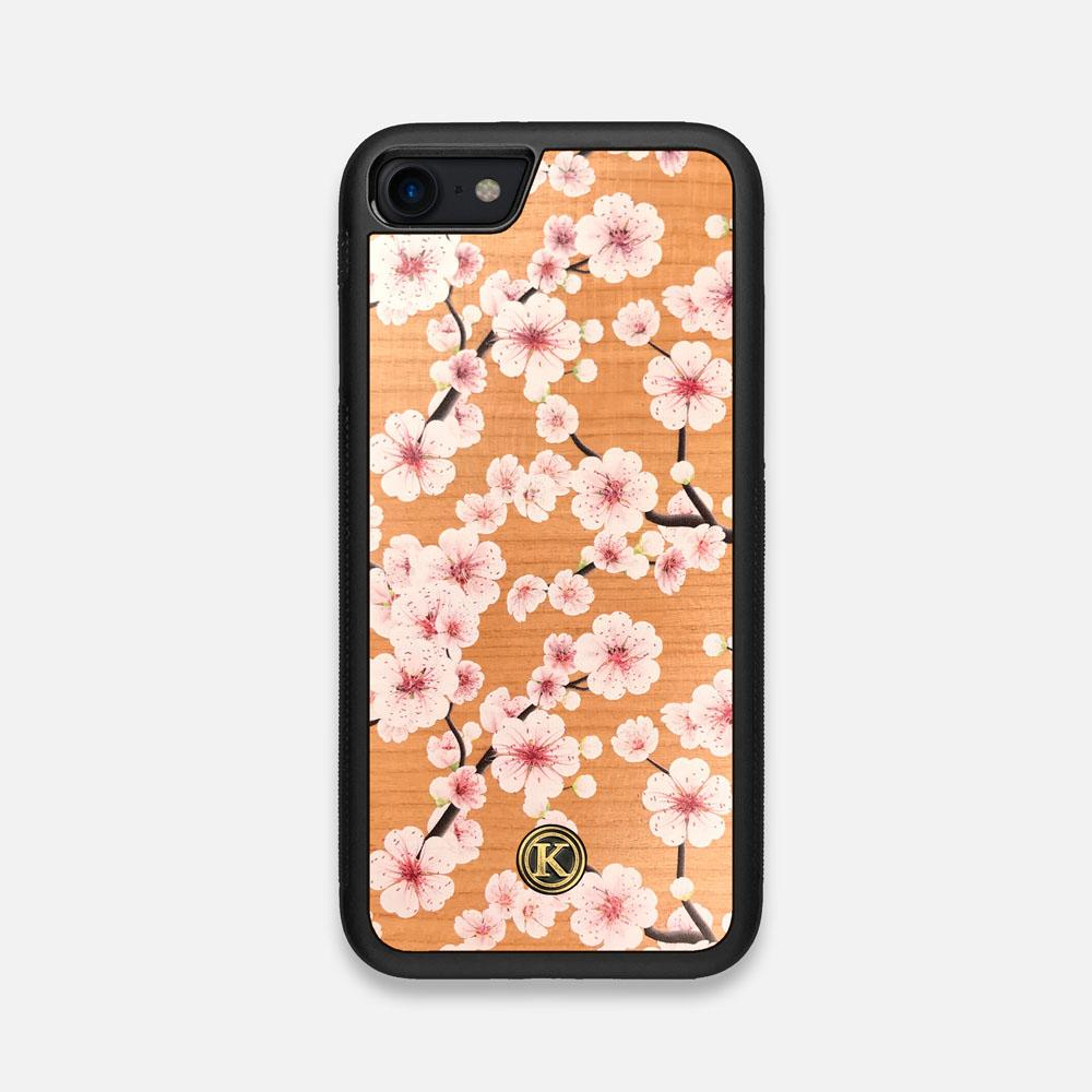 Front view of the Sakura Printed Cherry-blossom Cherry Wood iPhone 7/8 Case by Keyway Designs