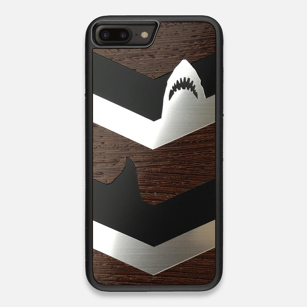 Front view of the Shark Chevron Dark By Parker Barrow Wenge Wood iPhone 7/8 Plus Case by Keyway Designs