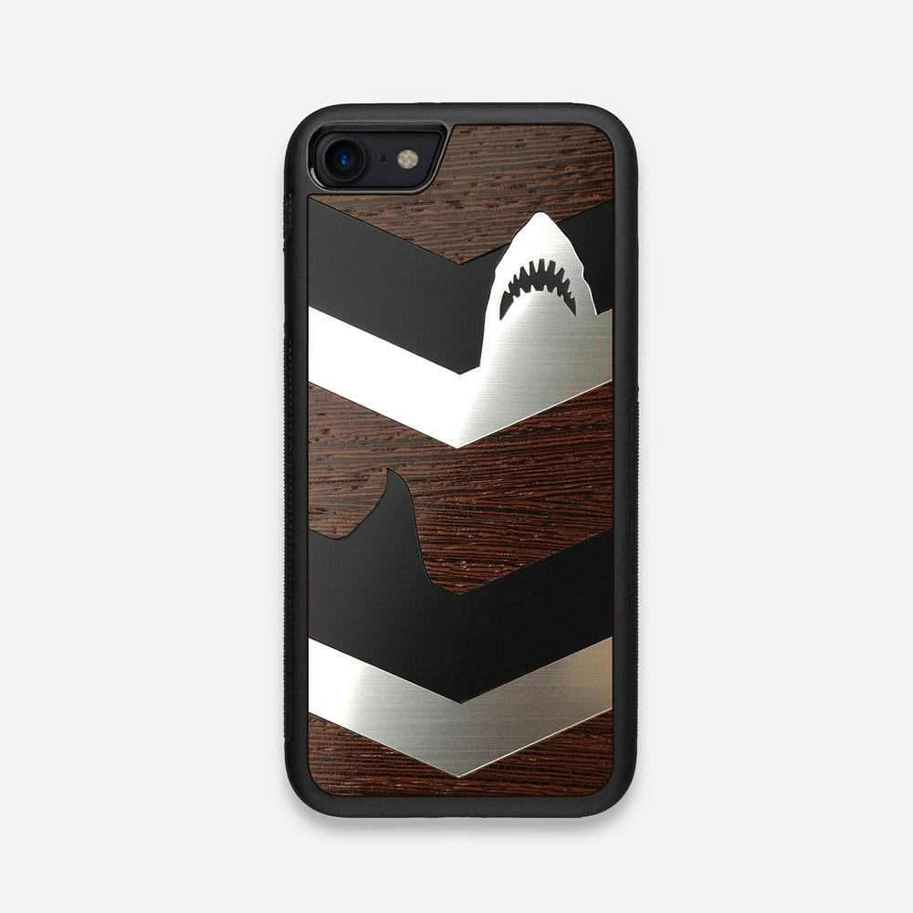 Front view of the Shark Chevron Dark By Parker Barrow Wenge Wood iPhone 7/8 Case by Keyway Designs