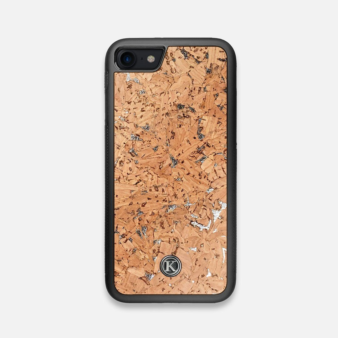 Front view of the silver fleck natural cork iPhone 7/8 Case by Keyway Designs