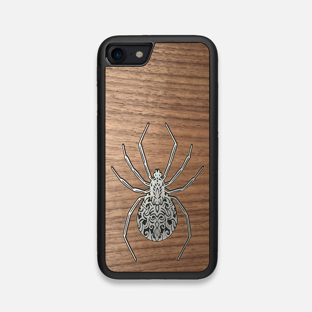 Front view of the Spider by Pavneet Sembhi Silver Walnut Wood iPhone 7/8 Case by Keyway Designs