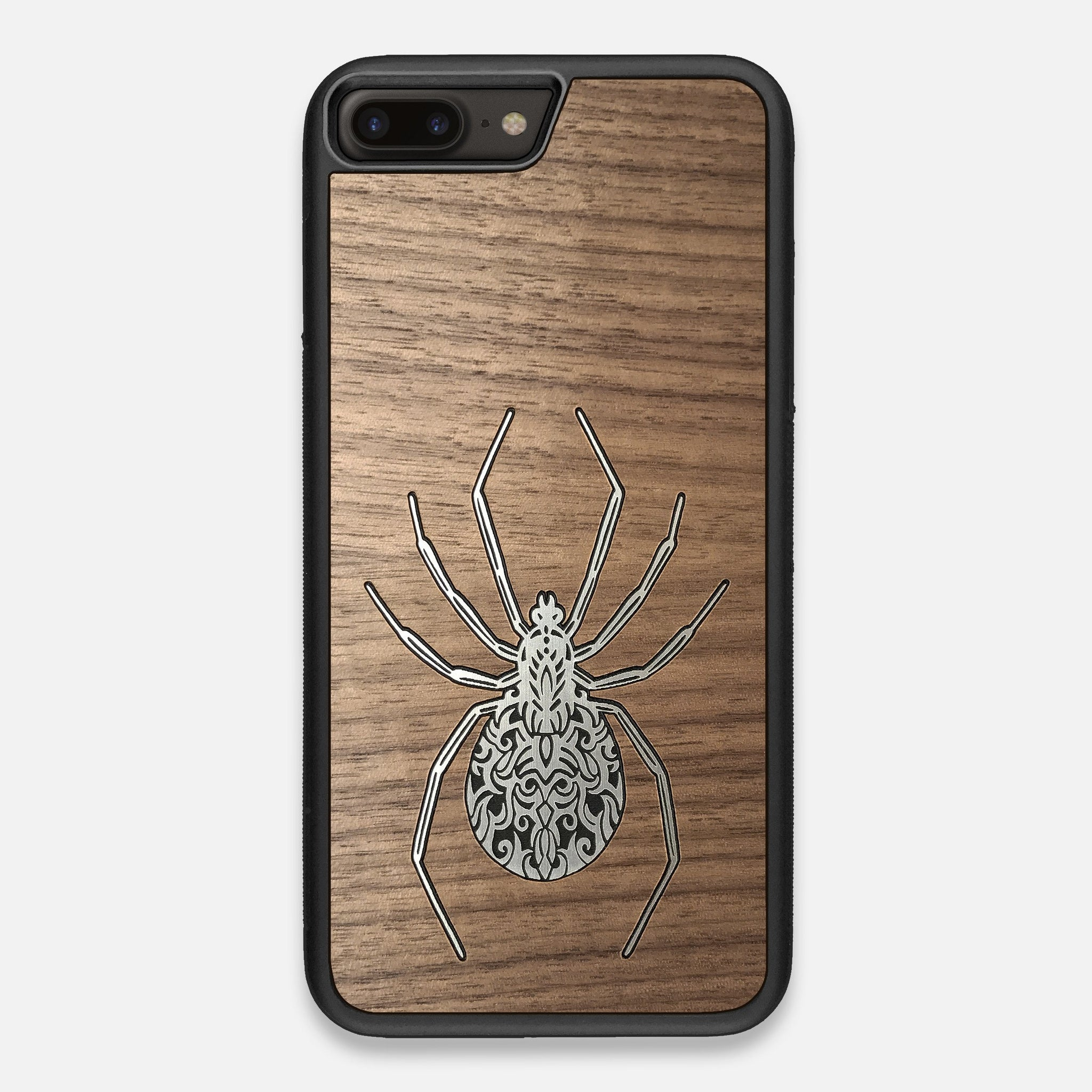 Front view of the Spider by Pavneet Sembhi Silver Walnut Wood iPhone 7/8 Plus Case by Keyway Designs