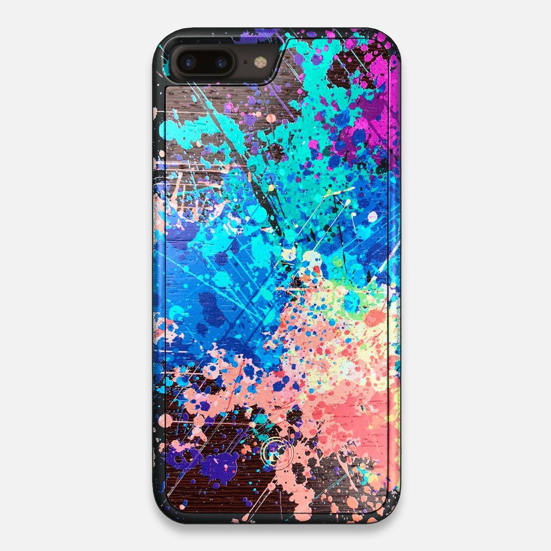 Front view of the realistic paint splatter 'Chroma' printed Wenge Wood iPhone 7/8 Plus Case by Keyway Designs