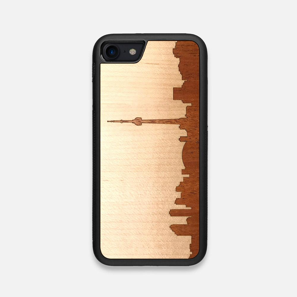 Front view of the Toronto Skyline Maple Wood iPhone 7/8 Case by Keyway Designs