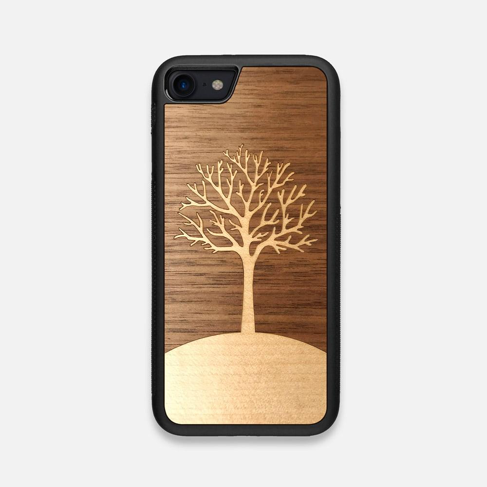 Front view of the Tree Of Life Walnut Wood iPhone 7/8 Case by Keyway Designs