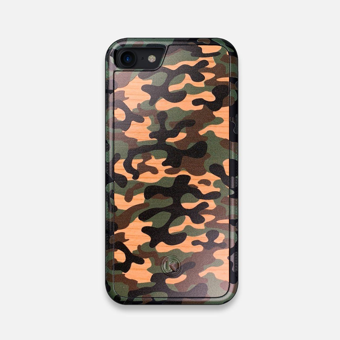 Front view of the stealth Paratrooper camo printed Wenge Wood iPhone 7/8 Case by Keyway Designs