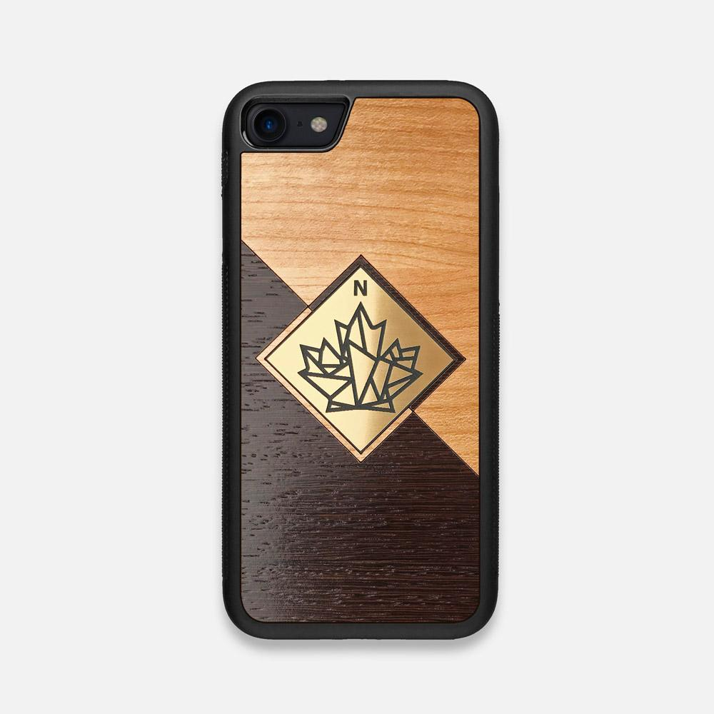 Front view of the True North by Northern Philosophy Cherry & Wenge Wood iPhone 7/8 Case by Keyway Designs