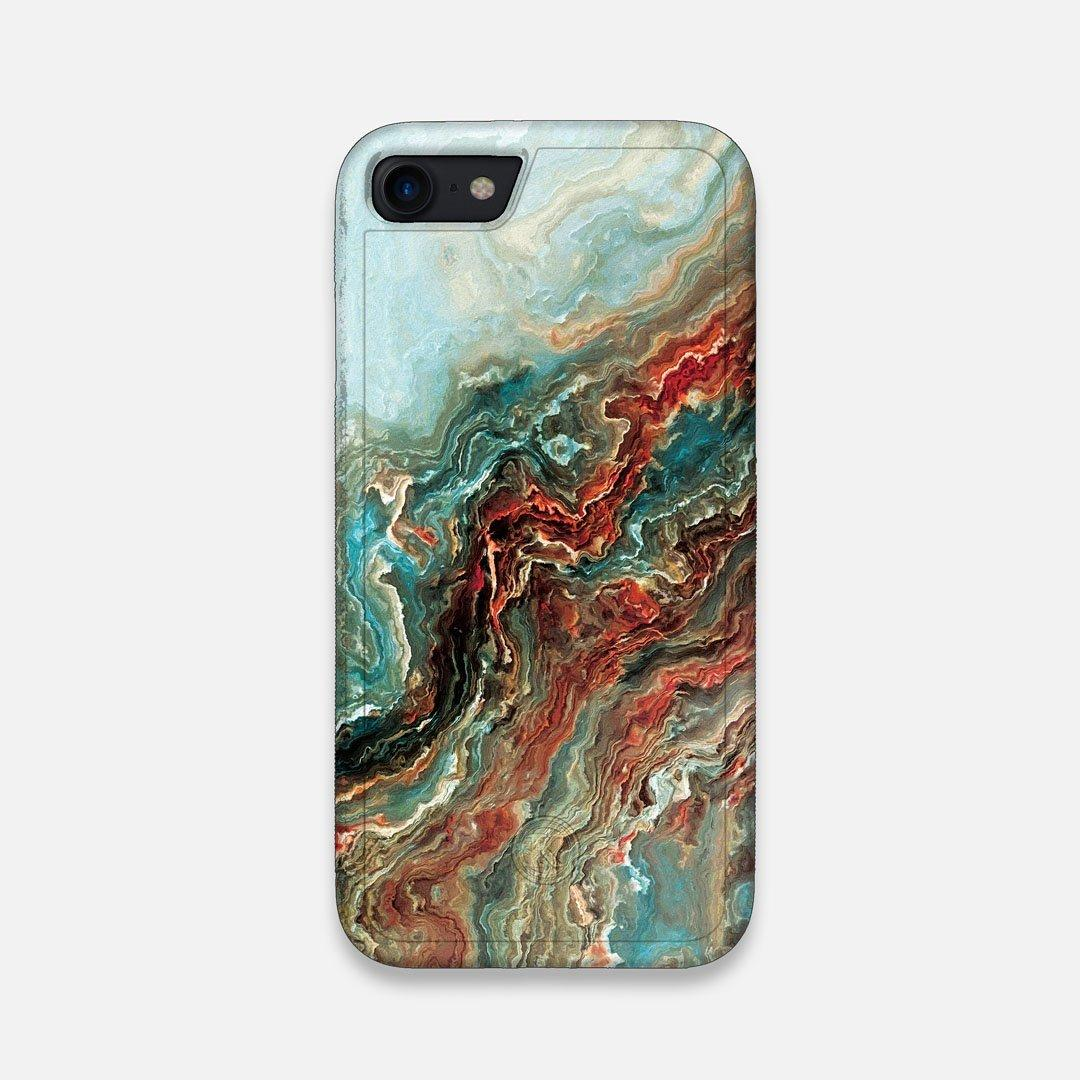 Front view of the vibrant and rich Red & Green flowing marble pattern printed Wenge Wood iPhone 7/8 Case by Keyway Designs