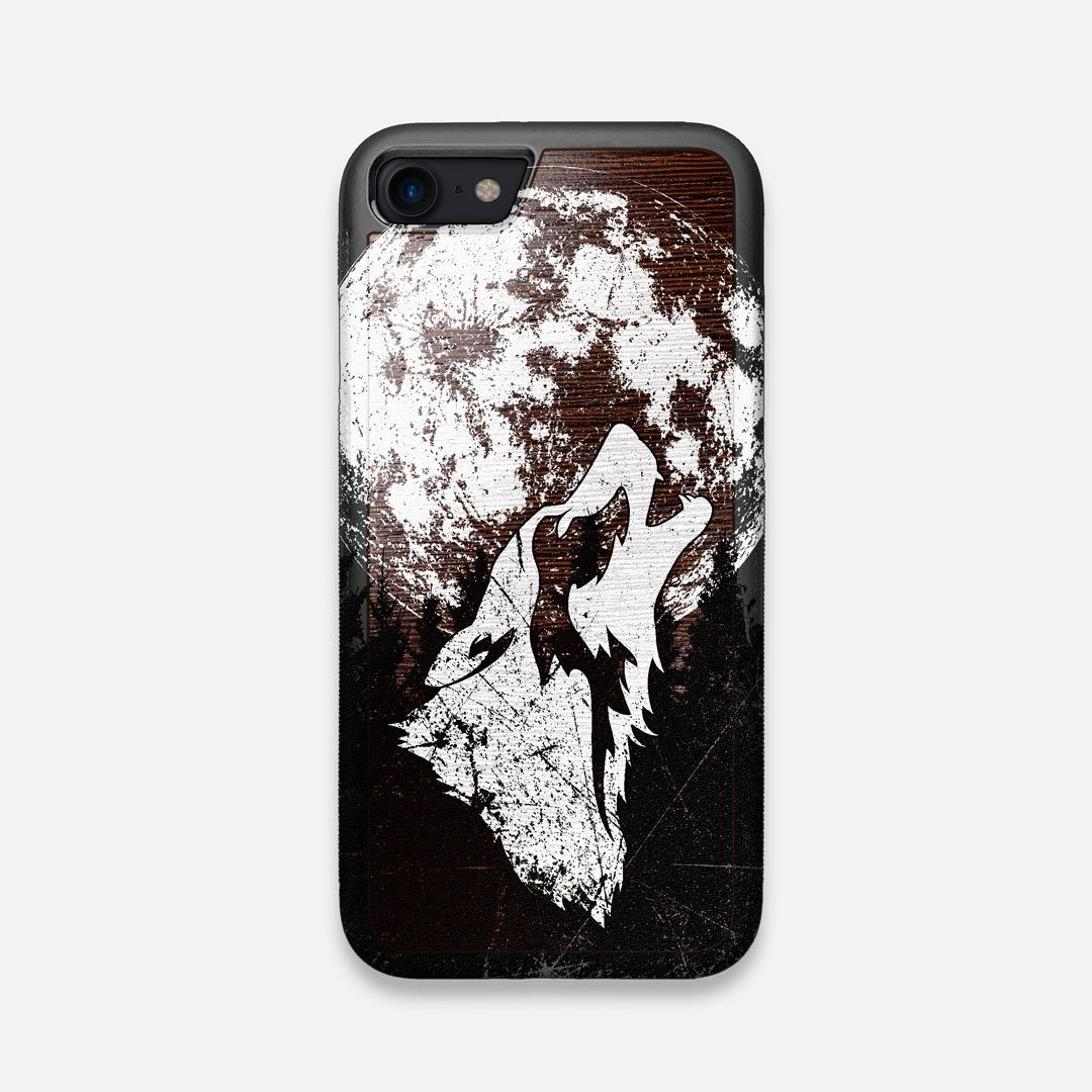 Front view of the high-contrast howling wolf on a full moon printed on a Wenge Wood iPhone 7/8 Case by Keyway Designs