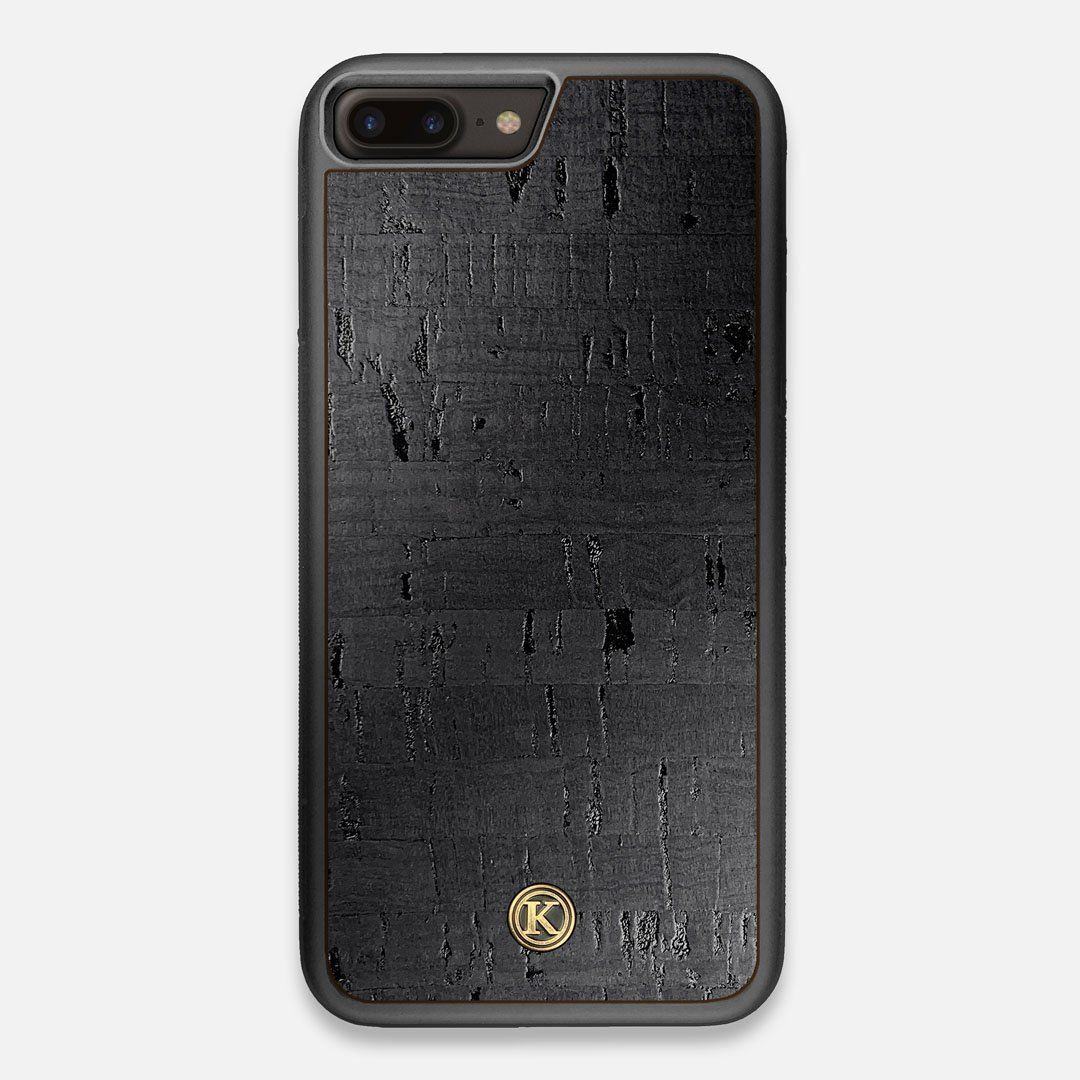 Front view of the dyed black natural cork iPhone 7/8 Plus Case by Keyway Designs