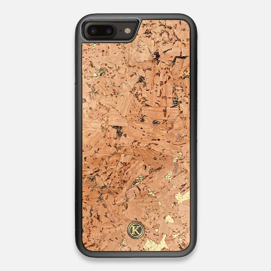 Front view of the gold fleck natural cork iPhone 7/8 Plus Case by Keyway Designs