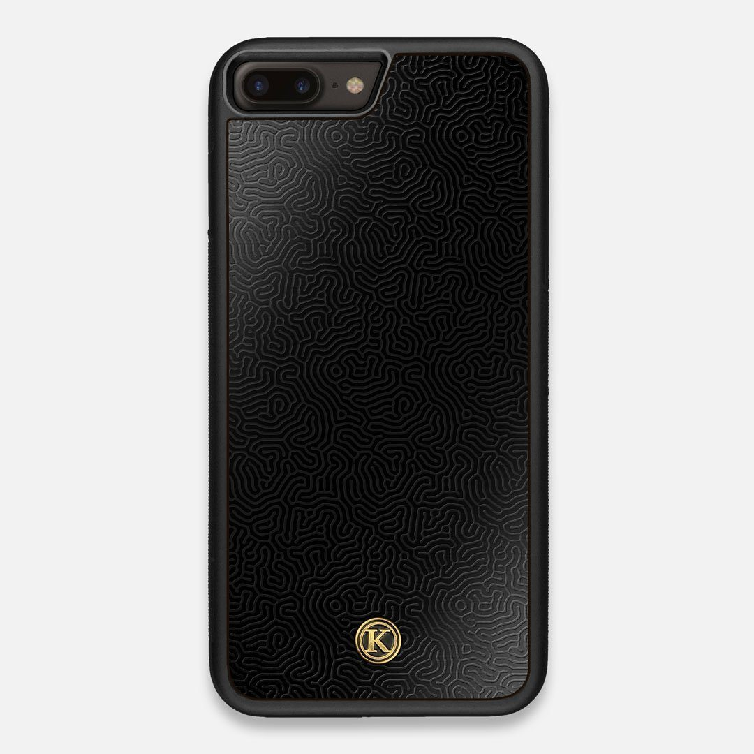 Front view of the highly detailed organic growth engraving on matte black impact acrylic iPhone 7/8 Plus Case by Keyway Designs