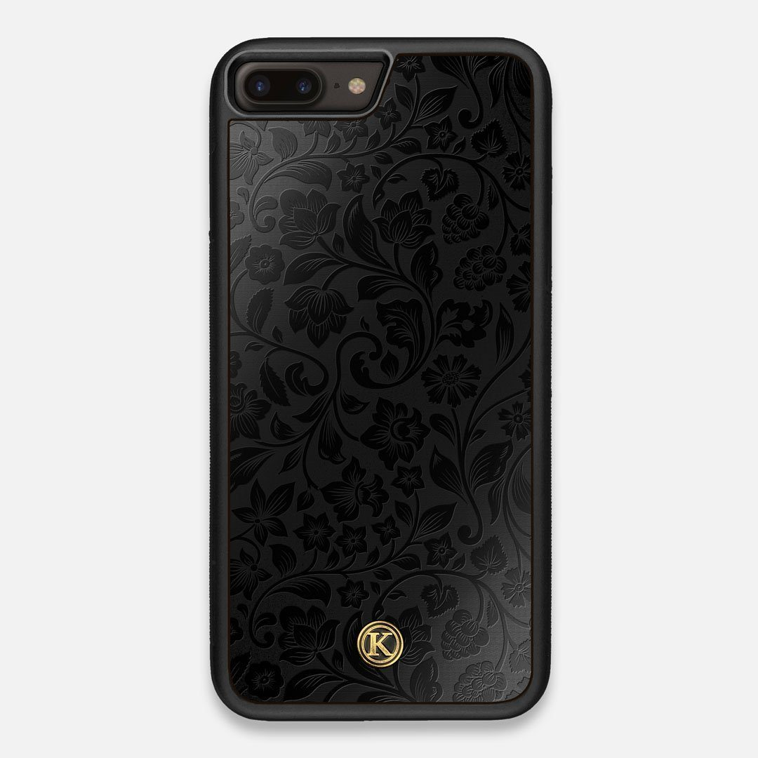 Front view of the highly detailed midnight floral engraving on matte black impact acrylic iPhone 7/8 Plus Case by Keyway Designs