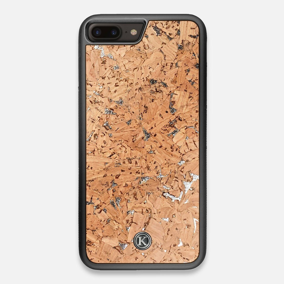 Front view of the silver fleck natural cork iPhone 7/8 Plus Case by Keyway Designs