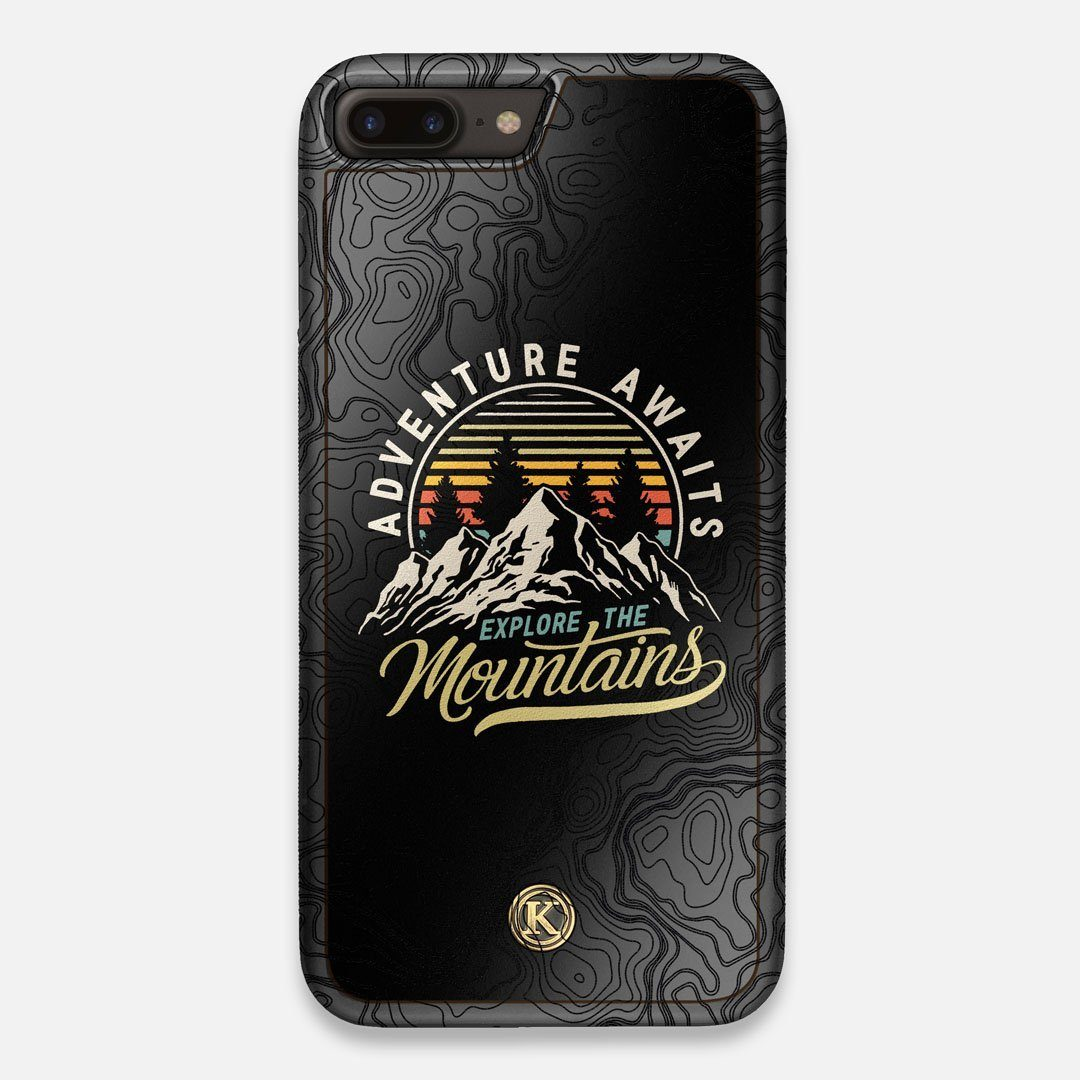 Front view of the crisp topographical map with Explorer badge printed on matte black impact acrylic iPhone 7/8 Plus Case by Keyway Designs