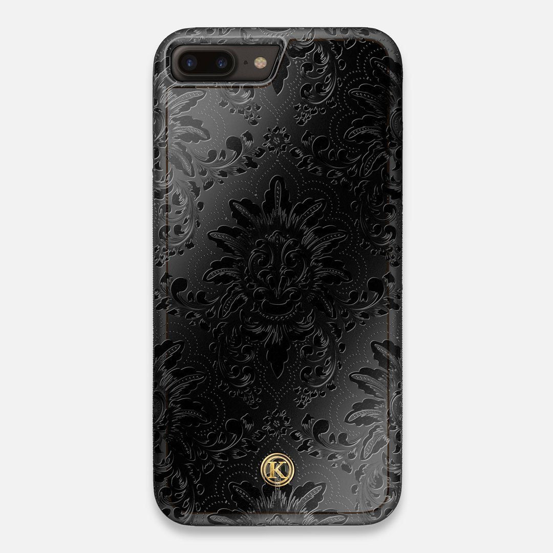 Front view of the detailed gloss Damask pattern printed on matte black impact acrylic iPhone 7/8 Plus Case by Keyway Designs