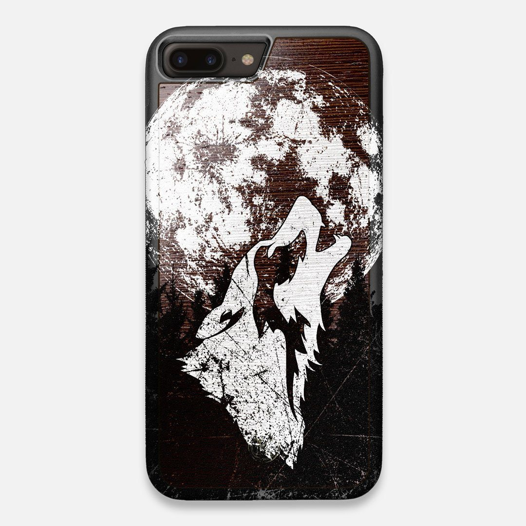 Front view of the high-contrast howling wolf on a full moon printed on a Wenge Wood iPhone 7/8 Plus Case by Keyway Designs