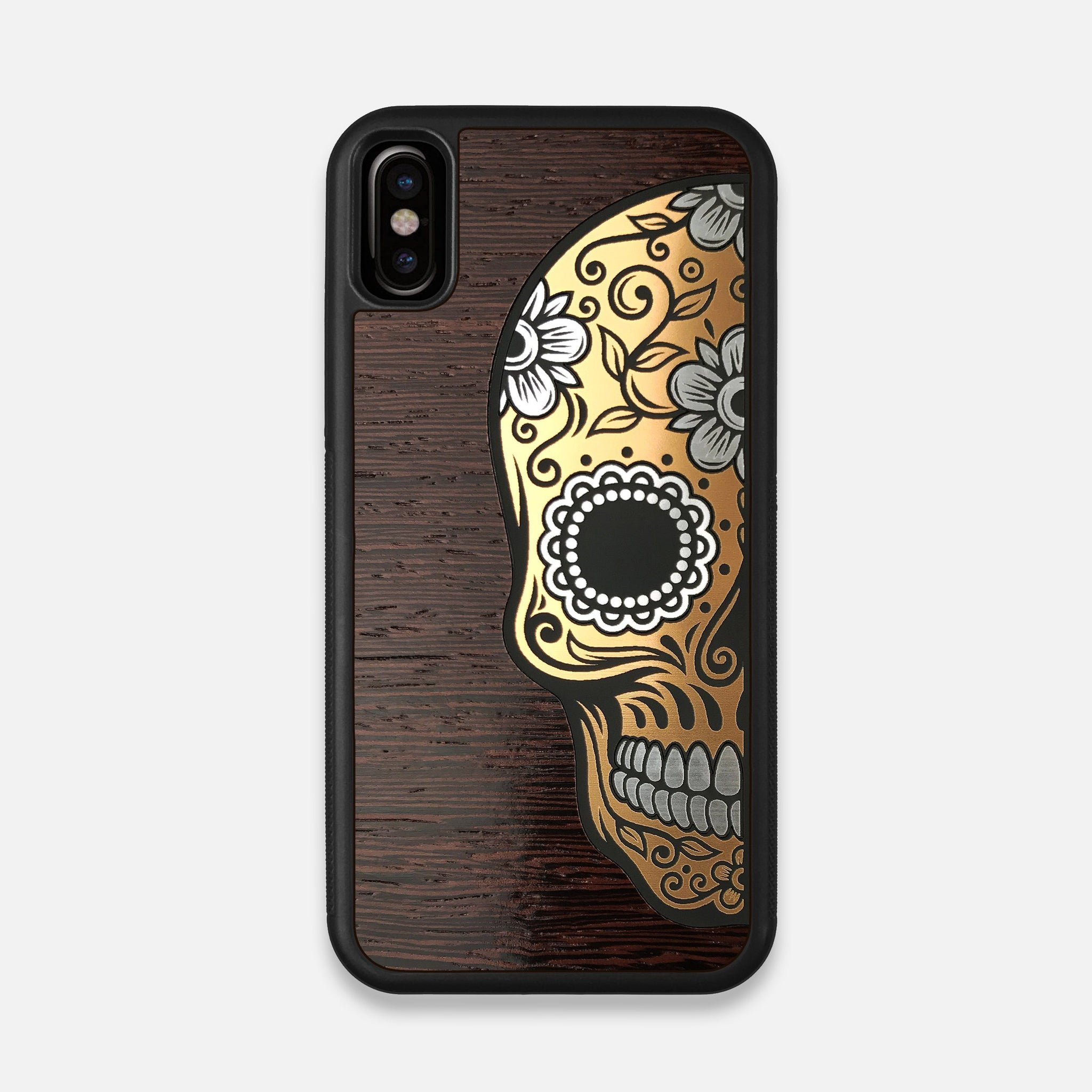 Front view of the Calavera Wood Sugar Skull Wood iPhone X Case by Keyway Designs