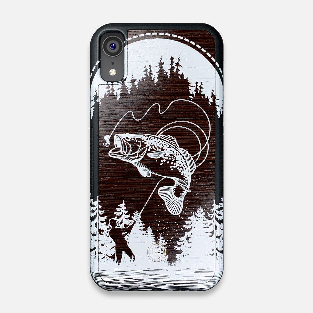Front view of the high-contrast spotted bass printed Wenge Wood iPhone XR Case by Keyway Designs