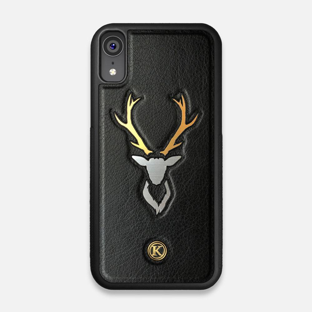 Front view of the Arcan Black Leather iPhone XR Case by Keyway Designs
