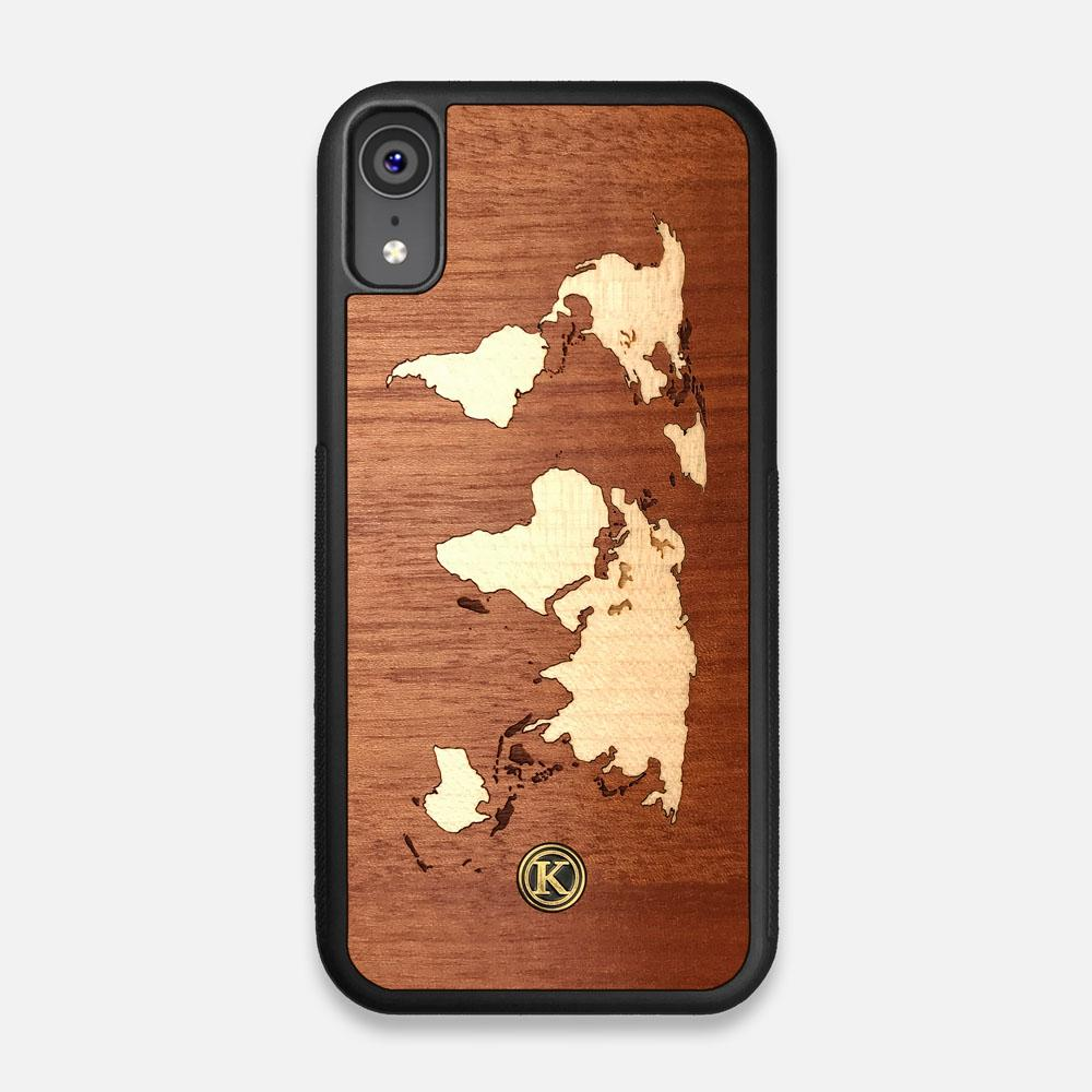 Front view of the Atlas Sapele Wood iPhone XR Case by Keyway Designs