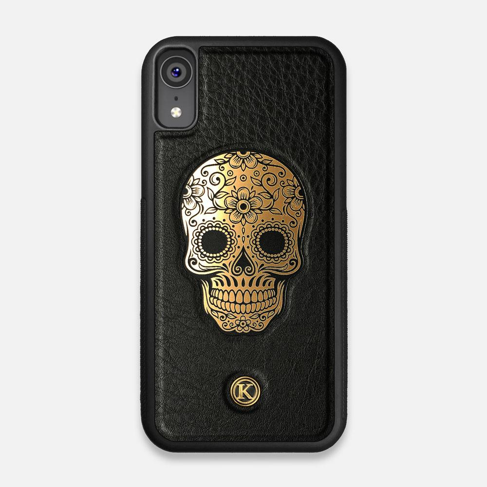 Front view of the Auric Black Leather iPhone XR Case by Keyway Designs