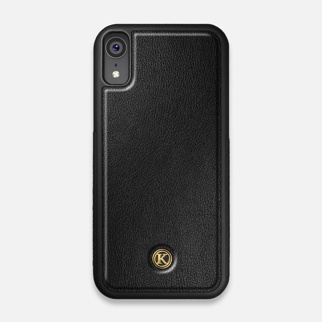 Front view of the Blank Black Leather iPhone XR Case by Keyway Designs