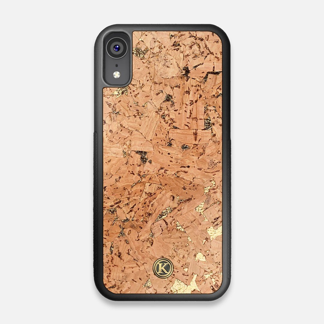 Front view of the gold fleck natural cork iPhone XR Case by Keyway Designs