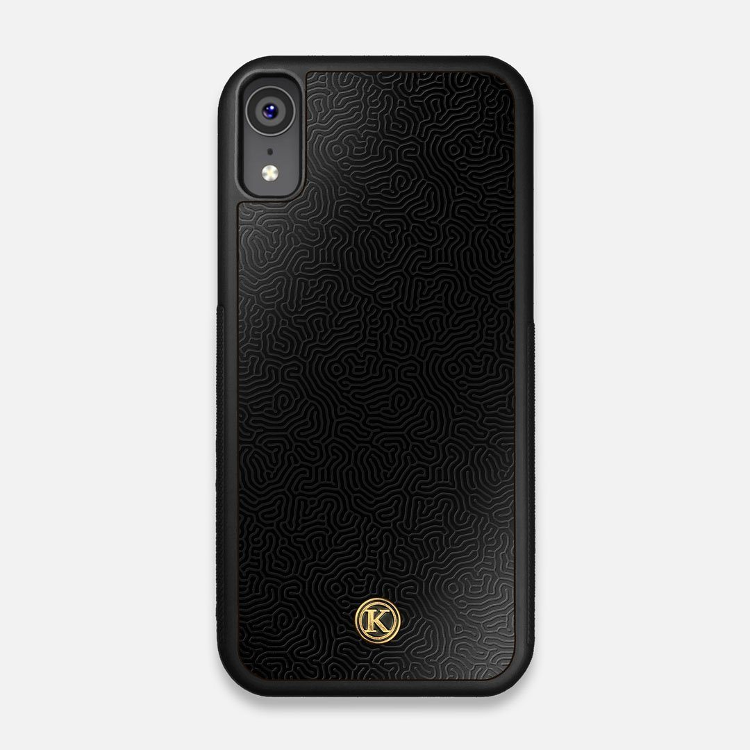 Front view of the highly detailed organic growth engraving on matte black impact acrylic iPhone XR Case by Keyway Designs
