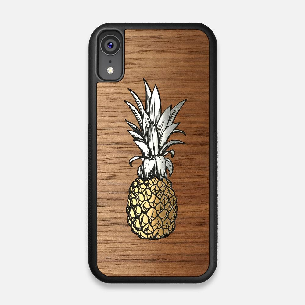 Front view of the Pineapple Walnut Wood iPhone XR Case by Keyway Designs