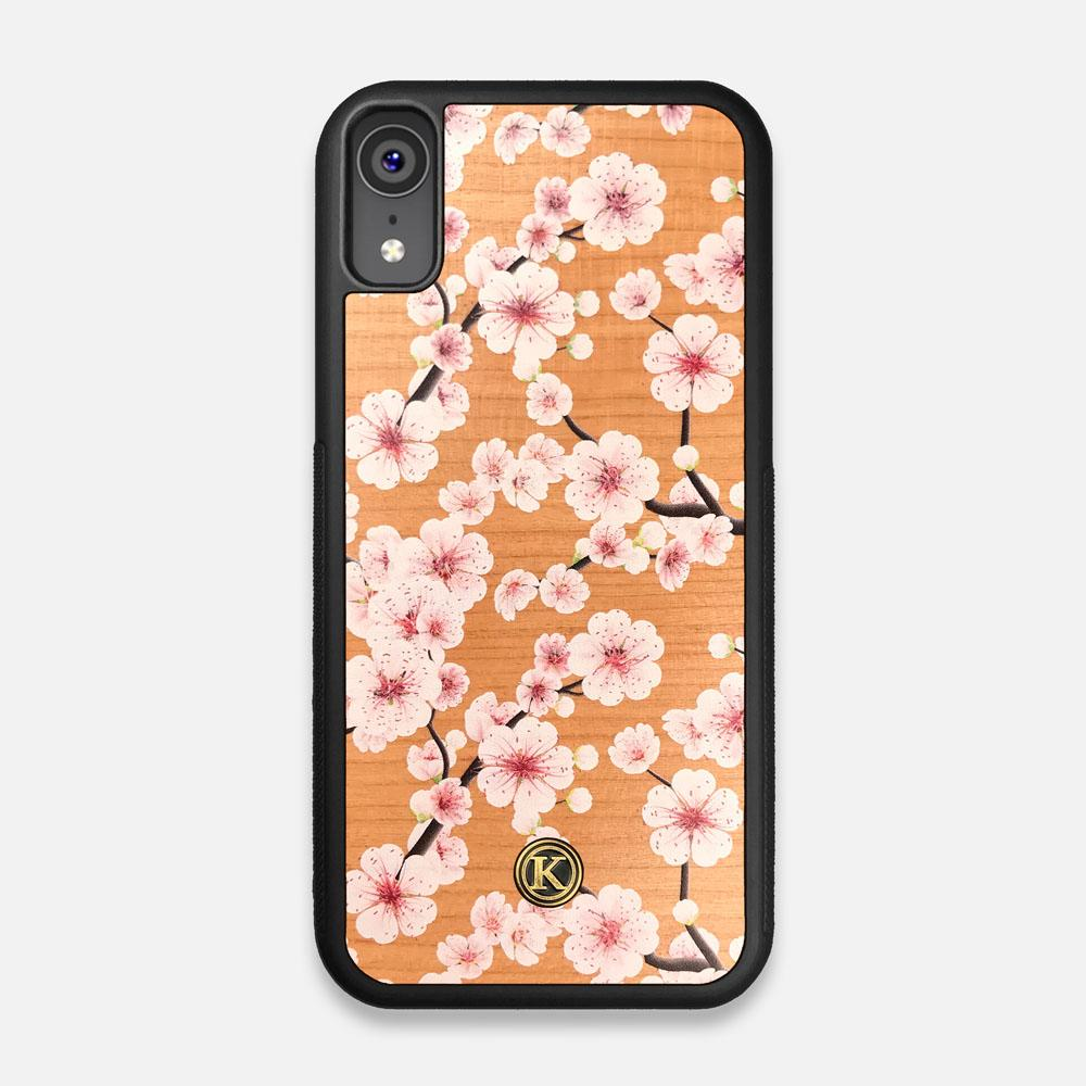 Front view of the Sakura Printed Cherry-blossom Cherry Wood iPhone XR Case by Keyway Designs
