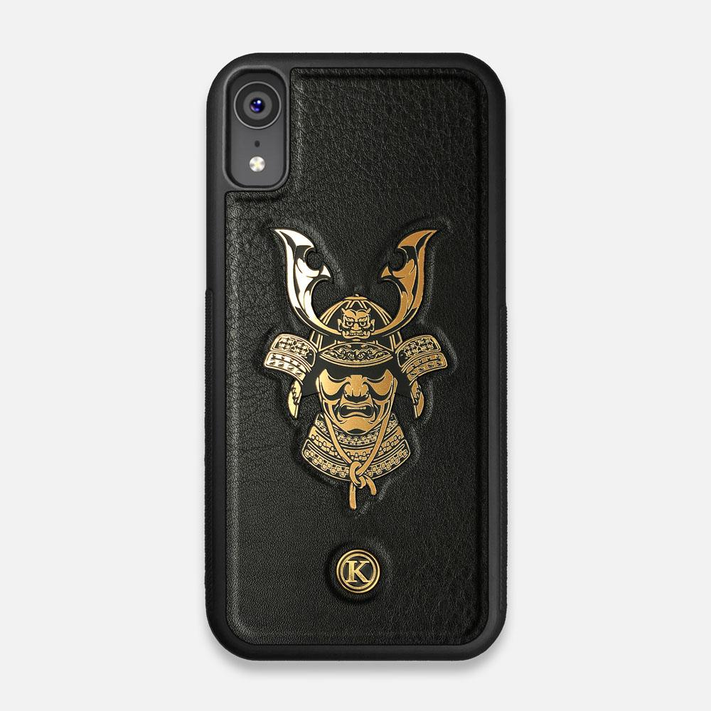 Front view of the Samurai Black Leather iPhone XR Case by Keyway Designs
