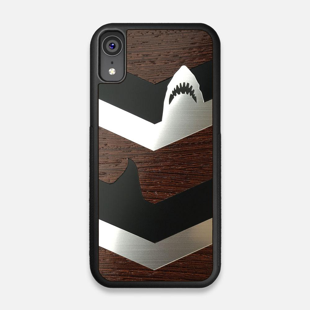 Front view of the Shark Chevron Dark By Parker Barrow Wenge Wood iPhone XR Case by Keyway Designs