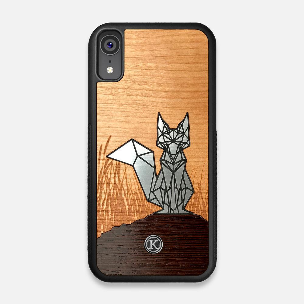 Front view of the Silver Fox & Cherry Wood iPhone XR Case by Keyway Designs