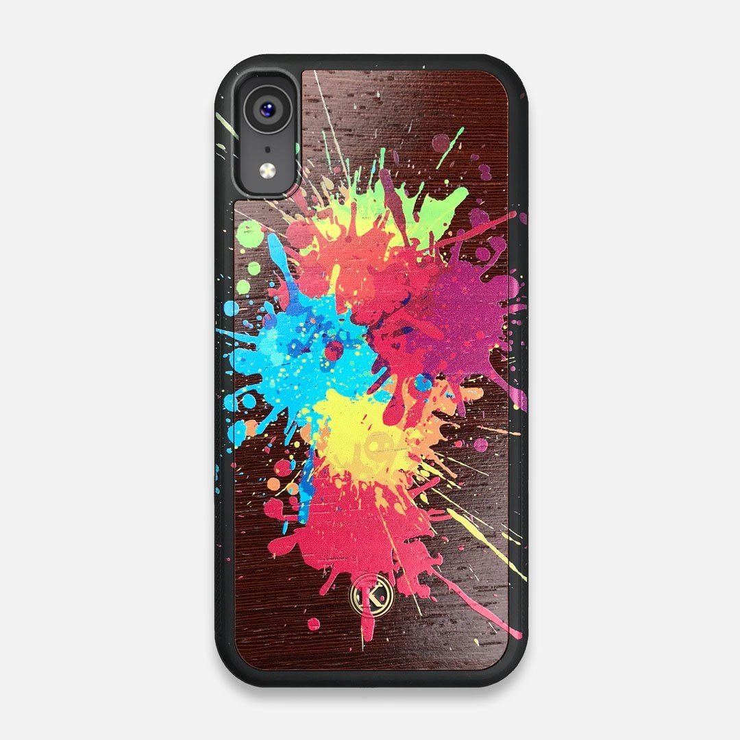 Front view of the illustration-style paint drops printed Wenge Wood iPhone XR Case by Keyway Designs