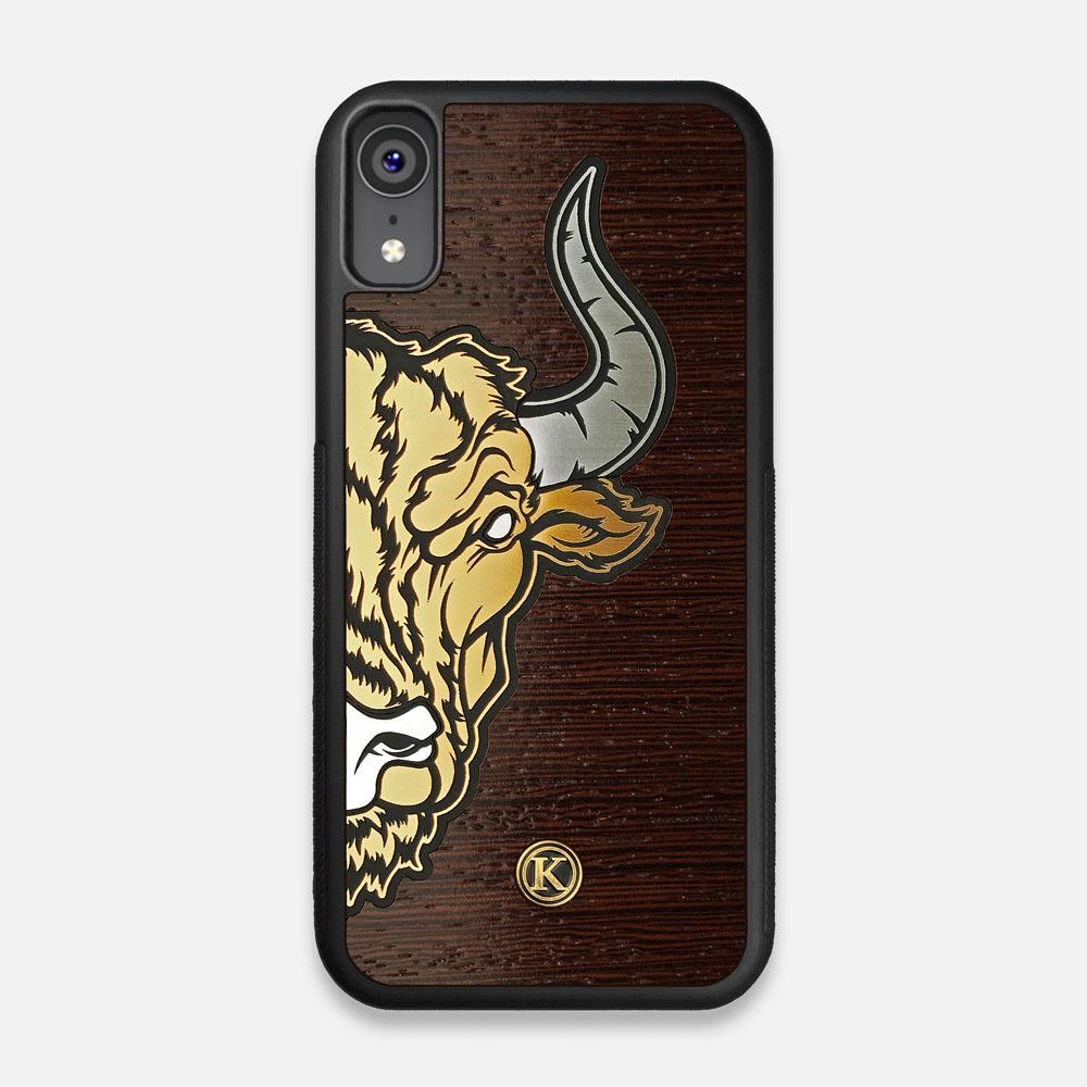 Front view of the Toro By Orozco Design Wenge Wood iPhone XR Case by Keyway Designs