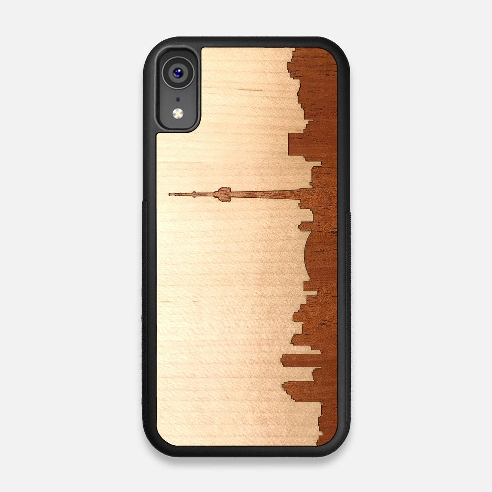 Front view of the Toronto Skyline Maple Wood iPhone XR Case by Keyway Designs