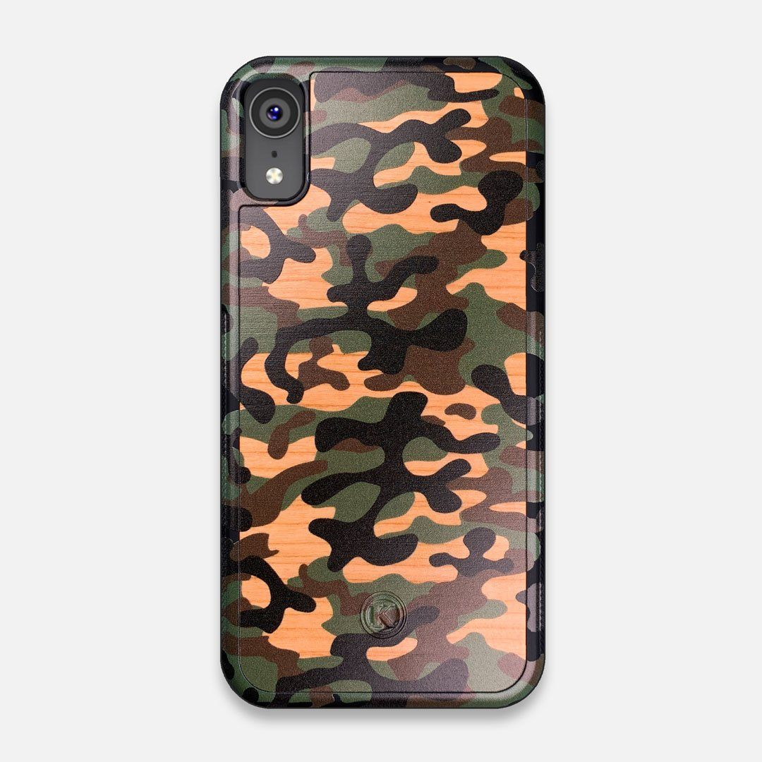 Front view of the stealth Paratrooper camo printed Wenge Wood iPhone XR Case by Keyway Designs