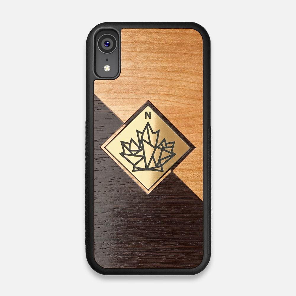 Front view of the True North by Northern Philosophy Cherry & Wenge Wood iPhone XR Case by Keyway Designs