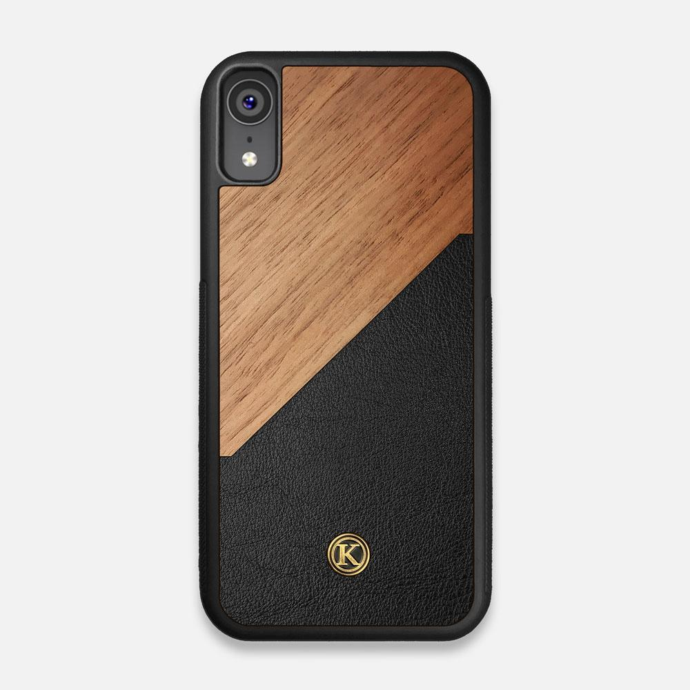 Front view of the Walnut Rift Elegant Wood & Leather iPhone XR Case by Keyway Designs